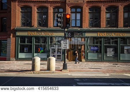 Portland, Me - March 27, 2021: Portland Old Downtown Is Filled With 19th Century Brick Buildings And