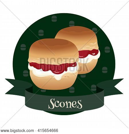 Scones With Cream And Jam. Traditional British Teacakes. Vector Illustration For Cafe And Restaurant
