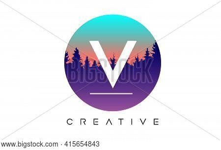 V Letter Logo Design With Pine Forest Vector Shapes And Pastel Circular Shape Color Illustration