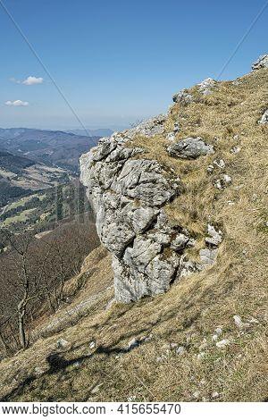 Big Rock, Klak Hill, Little Fatra Mountains, Slovak Republic. Seasonal Natural Scene.