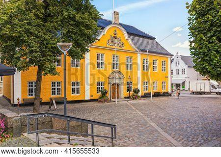 The historic town hall of Aalborg, Denmark, at Gammeltorv square