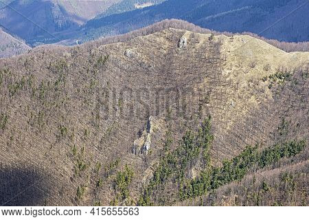 Deciduous Forest From Klak Hill, Slovak Republic. Springtime Natural Scene.
