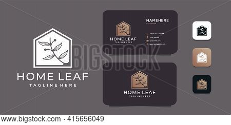 Home Leaf Negative Beauty Real Estate Logo Design Vector Concept. Logo Can Be Used For Icon, Brand,