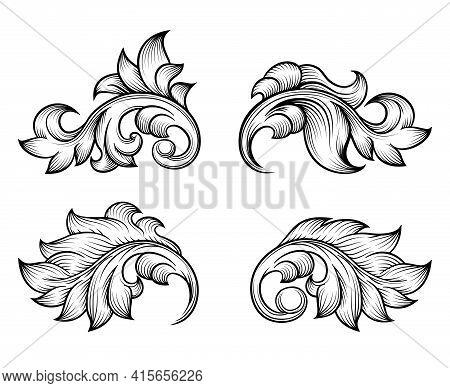 Vintage Baroque Scroll Leaf Set In Engraving Style Element, Ornate Decoration, Filigree Floral. Vect