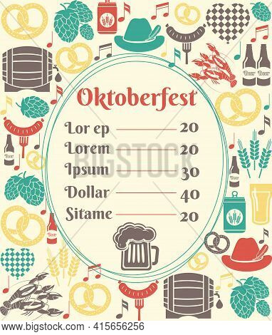 Oktoberfest Menu Template With An Oval Frame Enclosing A Price List Surrounded By Icons Of German Be
