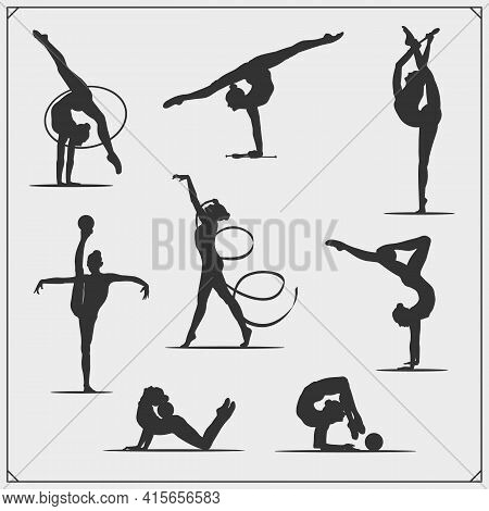 Rhythmic Gymnastics Silhouettes. Female Silhouette Of Gymnast. Sport Emblem, Logos And Design Elemen
