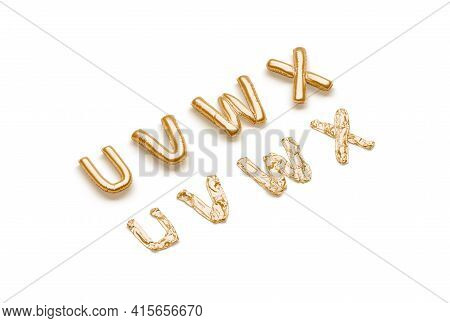 Inflated, Deflated Gold U V W X Letters, Balloon Font, 3d Rendering. Golden Helium Or Air Decorative