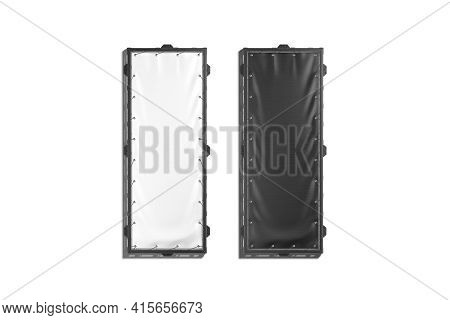 Blank Black And White Vertical Stretching Banner Grip Frame Mockup, 3d Rendering. Empty Narrow Comme