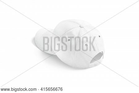 Blank White Baseball Cap Mockup, Back View, 3d Rendering. Empty Head-dress With Button And Clasp Moc