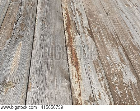 Background Of Flaky Wood. Backdrop Of Colored Wooden Panels With Aged Flaky Surface.