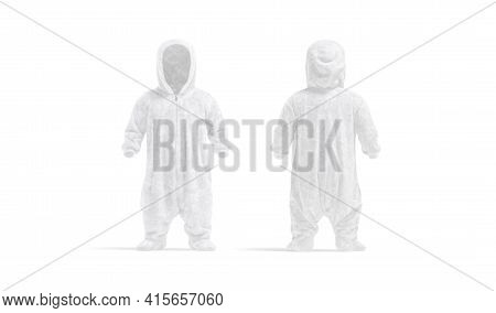 Blank White Kid Plush Jumpsuit Mockup, Front And Back View, 3d Rendering. Empty Child Overall With H