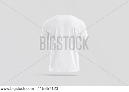 Blank White Wrinkled T-shirt Mockup, Back View, Gray Background, 3d Rendering. Empty Crumpled Classi