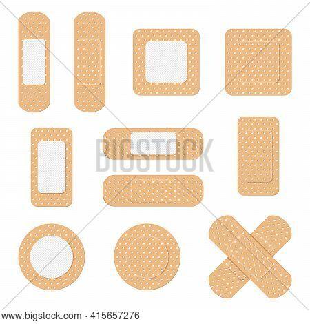 Medical Plaster. Medical Plasters Isolated On White Background. Healthcare Element, Plaster Tape Pro
