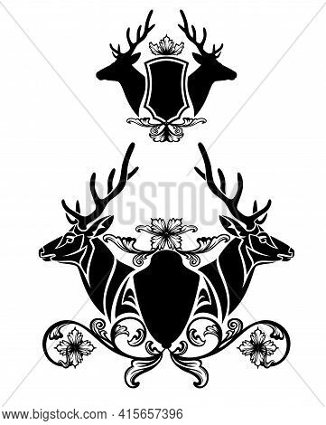 Pair Of Deer Stags With Large Antlers And Heraldic Shield Decorated With Flowers - Vintage Style Coa
