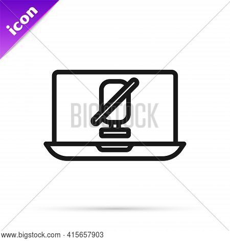 Black Line Mute Microphone On Laptop Icon Isolated On White Background. Microphone Audio Muted. Vect