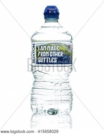 Swindon, Uk - April 5, 2021: Bottle Of Buxton Still Mineral Water On A White Background