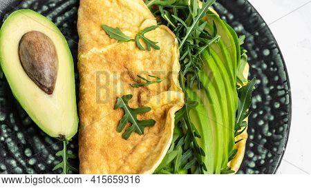 Frittata - Italian Omelet With Green Vegetables Avocado And Arugula, Delicious Vegan, Vegetarian Bre