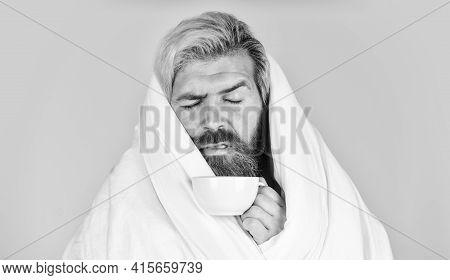 Man With Blanket Or Duvet Drink Coffee. Enough Amount Sleep. Tips Sleeping Better. Bearded Man Sleep