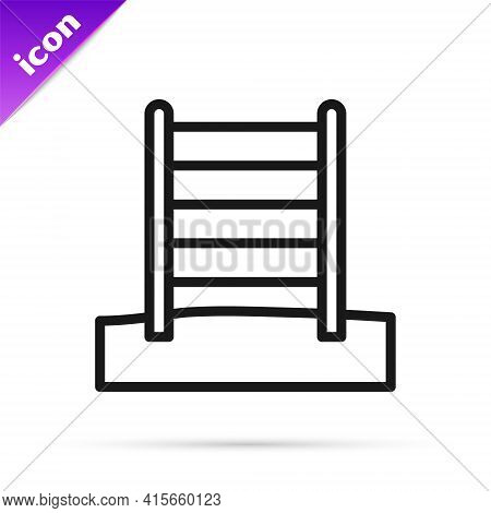 Black Line Wooden Swedish Wall Icon Isolated On White Background. Swedish Stairs. Vector