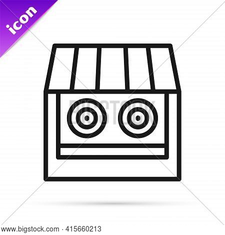 Black Line Shooting Gallery Icon Isolated On White Background. Shooting Range. Vector