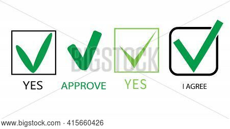 Check Mark Vector Icon On White Background. Mark Consent. Confirm, Check The Box. User Agreement. Qu