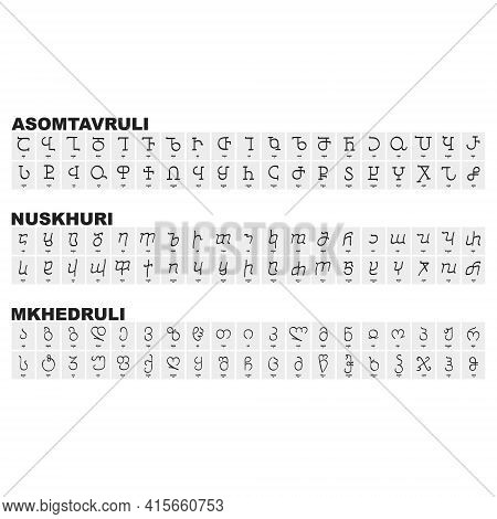 Vector Icon Set With Georgian Scripts And The Three Writing Systems Of Georgian Language For Your Pr