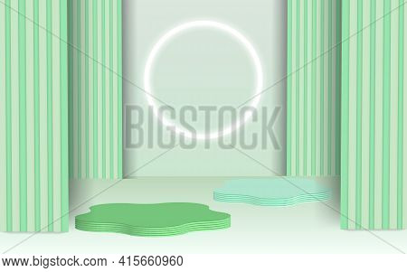 Background Vector 3d Blue Rendering With Podium And Minimal Blue Wall Scene, Minimal Abstract Backgr