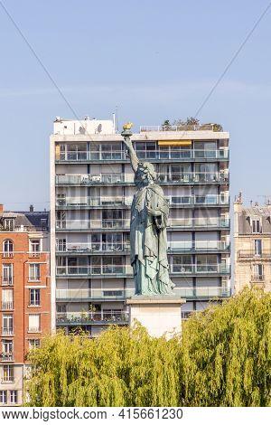 Paris, France - June 10, 2015: Statue Of Liberty In Paris, France Under Blue Sky.
