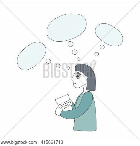 A Thinking Girl And Blank Speech Bubble. The Concept Of Dreams, Plans, Goals, And Wish List. Cloud F