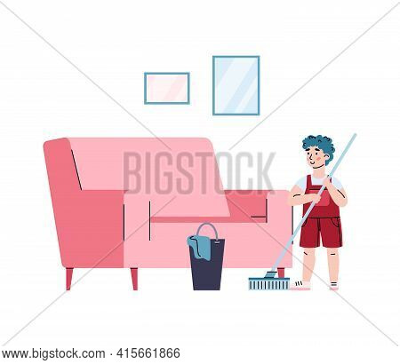 Hardworking Boy Washes Floors With A Mop, Cartoon Vector Illustration Isolated.