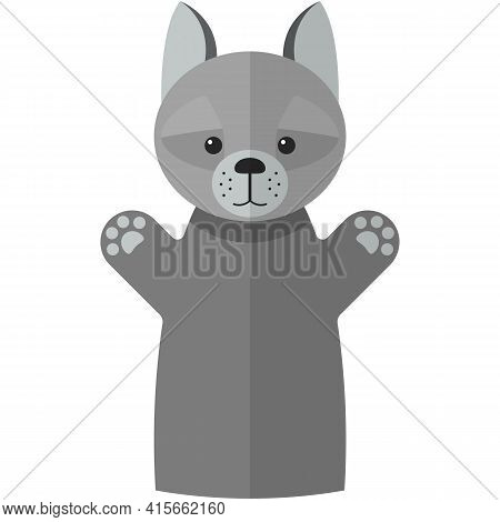Vector Grey Wolf Hand Puppet Doll For Theatre Show
