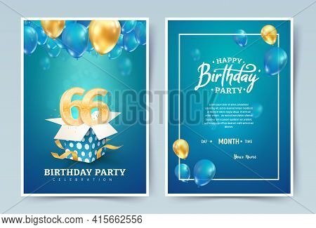 66th Years Birthday Vector Invitation Double Card. Sixty Six Years Wedding Anniversary Celebration B