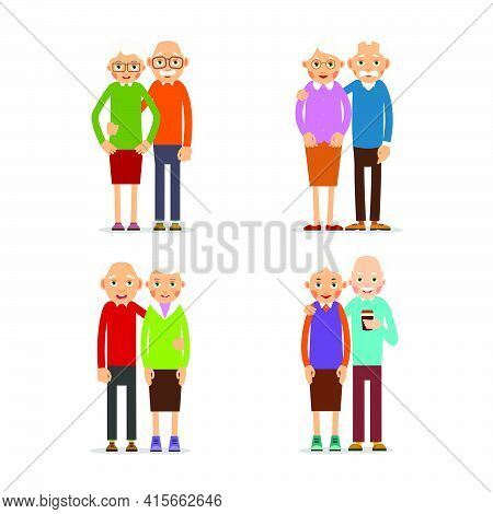 Four Couple Older People. People Stand In Pairs. Elderly Man And Woman Stand Together And Hug Each O