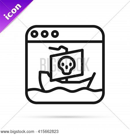 Black Line Internet Piracy Icon Isolated On White Background. Online Piracy. Cyberspace Crime With F