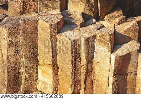 Wall With Fractal Stones. Stones Of A Very Unusual Shape. Unusual Creation Of Nature