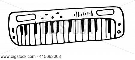 Vintage Hand Drawn Illustration With Black Doodle Synthesizer.vector Vintage Musical Keyboard Instru