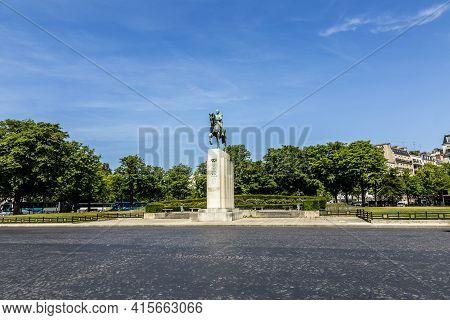 Paris, France - June 13, 2015: Equestrian Statue Of Marshal Ferdinand Foch In Place Du Trocadero. Hi