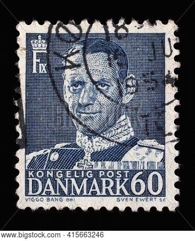 ZAGREB, CROATIA - SEPTEMBER 04, 2014: Stamp printed in Denmark shows King Frederik IX, series, circa 1953
