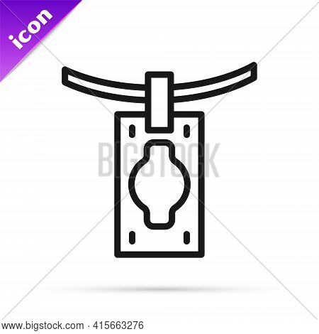 Black Line Money Laundering Icon Isolated On White Background. Money Crime Concept. Vector