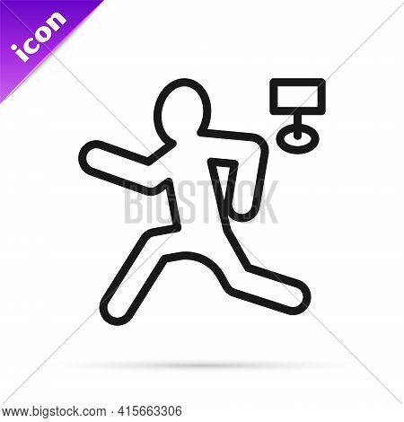 Black Line Murder Icon Isolated On White Background. Body, Bleeding, Corpse, Bleeding Icon. Concept