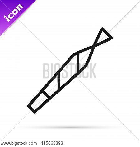 Black Line Marijuana Joint, Spliff Icon Isolated On White Background. Cigarette With Drug, Marijuana