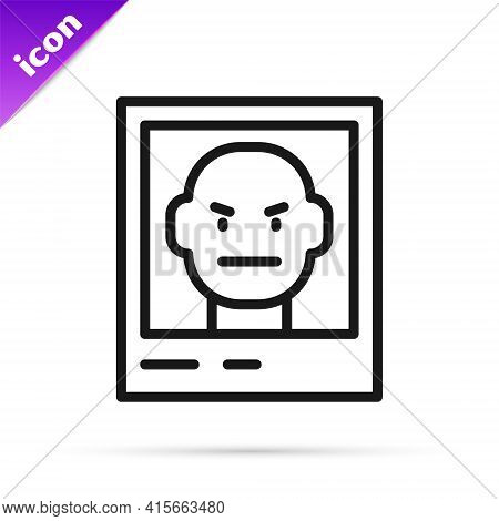 Black Line Wanted Poster Icon Isolated On White Background. Reward Money. Dead Or Alive Crime Outlaw
