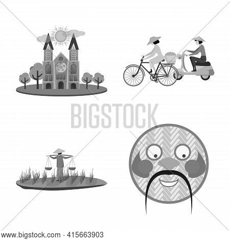 Isolated Object Of Vietnam And Traditional Logo. Collection Of Vietnam And Culture Stock Vector Illu