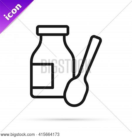 Black Line Drinking Yogurt In Bottle With Spoon Icon Isolated On White Background. Vector