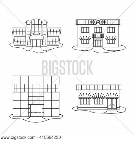 Vector Design Of Supermarket And Building Symbol. Collection Of Supermarket And City Vector Icon For
