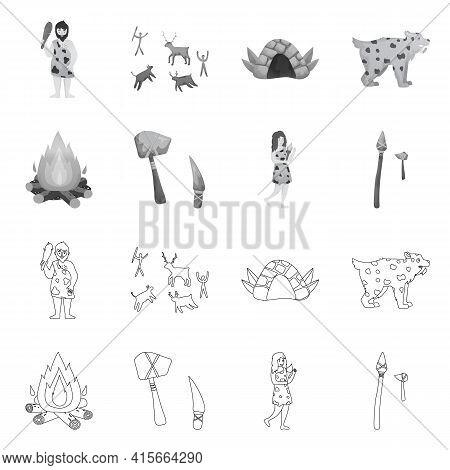 Isolated Object Of Evolution And Neolithic Symbol. Set Of Evolution And Primeval Stock Vector Illust