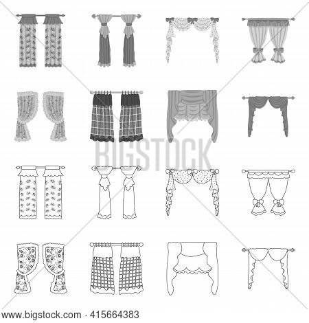 Vector Design Of Curtains And Drapes Icon. Collection Of Curtains And Blinds Stock Vector Illustrati