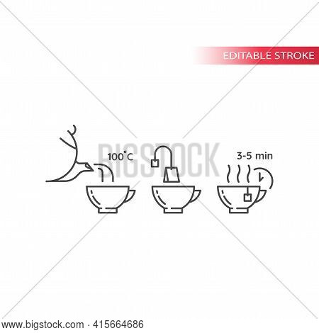 Tea Preparation Instruction Line Icon.eps