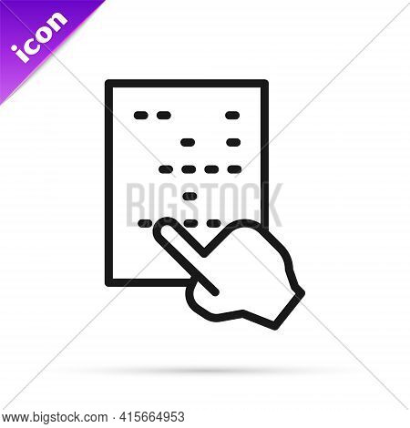 Black Line Braille Icon Isolated On White Background. Finger Drives On Points. Writing Signs System