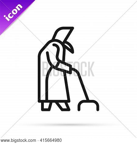 Black Line Grandmother Icon Isolated On White Background. Vector